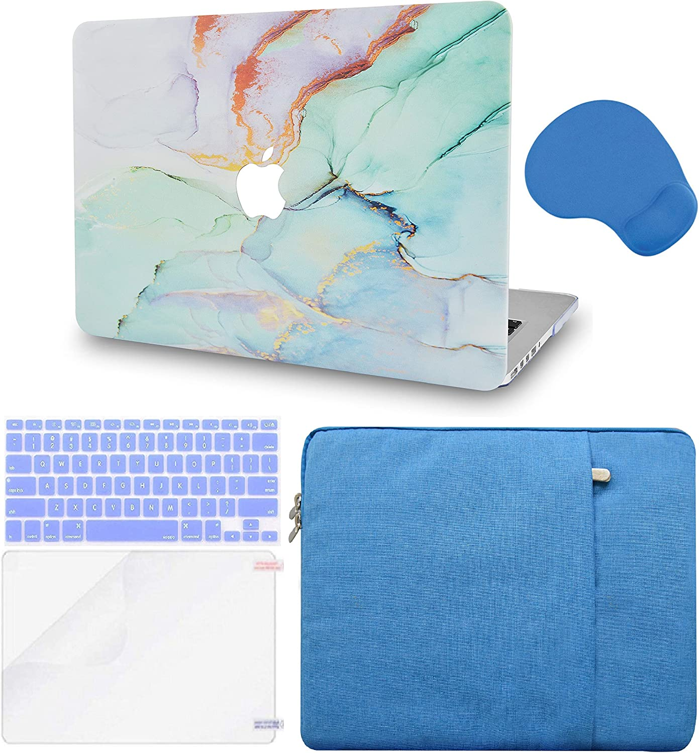 LuvCase 5 in 1 Laptop Case Compatible with MacBookPro 15 Touch Bar (2019/2018/2017/2016) A1990/A1707HardShellCover, Sleeve, Mouse Pad, Keyboard Cover, Screen Protector(Purple Blue Marble)