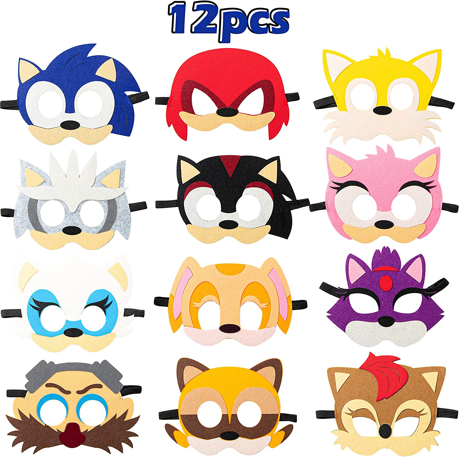 Amazon Com Salovio 12pcs Sonic Felt Masks Themed Party Supplies Birthday Hedgehog Party Favors Dress Up Costumes Mask Photo Booth Prop Cartoon Character Cosplay Pretend Play Accessories Gift For Kids Boys Girls Clothing