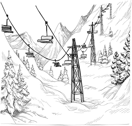 Amazon Com Lunarable Winter Tapestry Queen Size Ski Lift Fir Trees Monochrome Seasonal Holiday Destination Themed Sketch Wall Hanging Bedspread Bed Cover Wall Decor 88 X 88 White And Black Home Kitchen