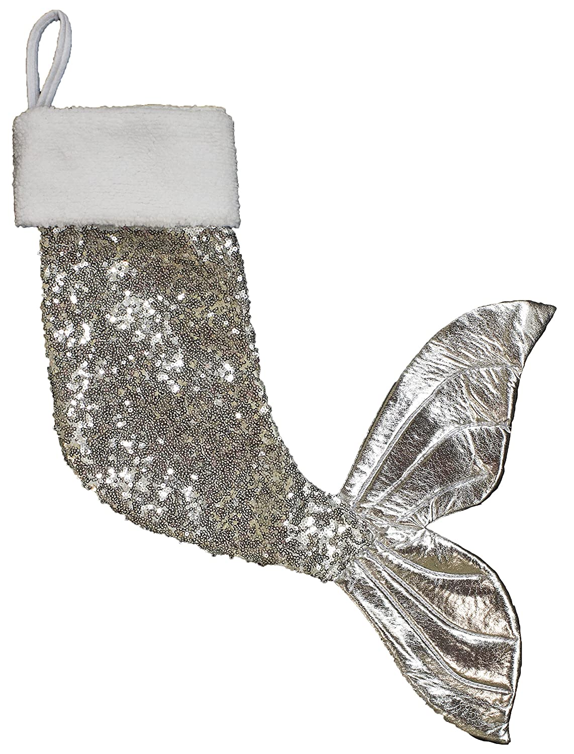 21 inch Sparkly Mermaid Tail Christmas Stocking (Blue)