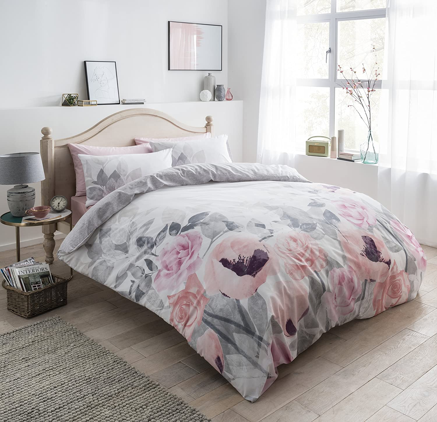 PIERIDAE Faded Flowers Grey Reversible Quilt Duvet Cover & Pillow Cases Set (Double).