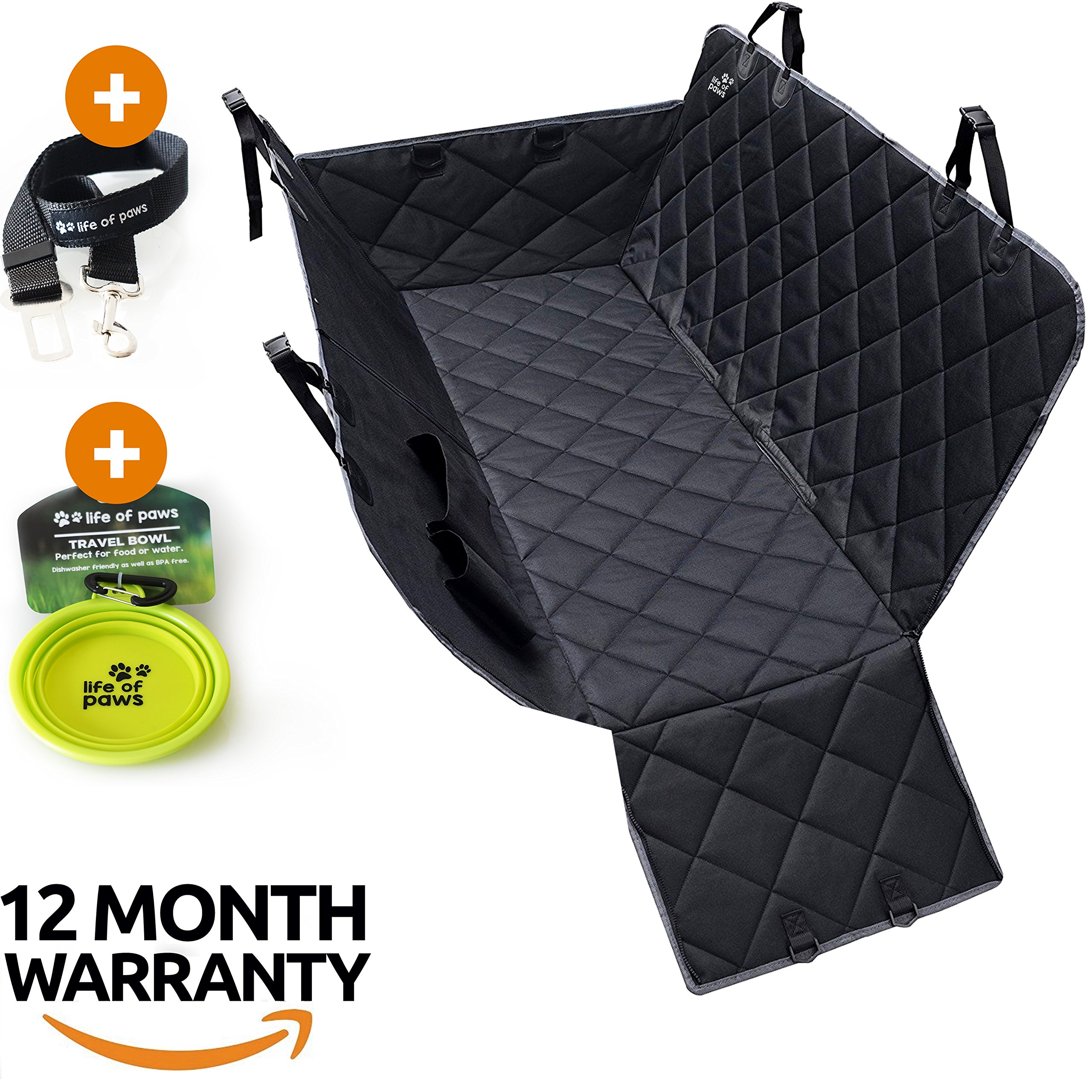 Backseat Car Cover for Dogs, Premium durable Hammock with improved quality stitching and zippers. 600D Heavy duty, waterproof, scratch proof, non slip seat covers for cars, trucks and SUVs.