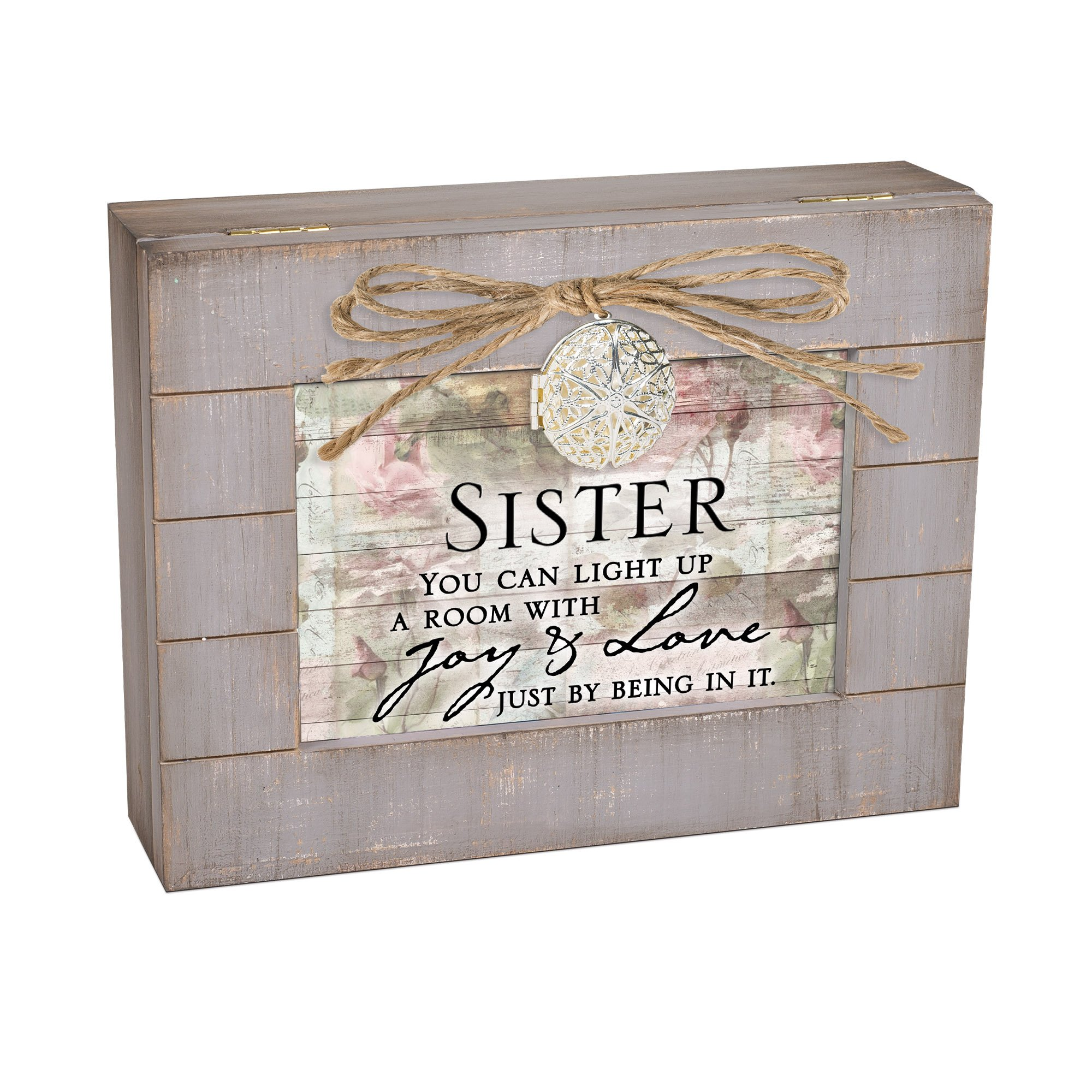 Cottage Garden Sister Light Up Room with Joy Grey Distressed Locket Music Box Plays Edelweiss
