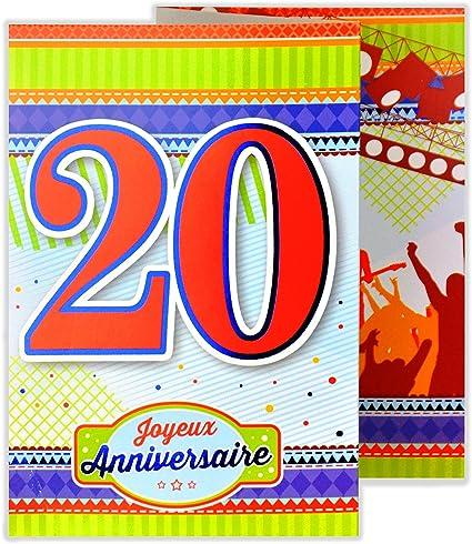 Afie 882124 B Carte 3 Volets Joyeux Anniversaire 20 Ans Amazon Fr Fournitures De Bureau
