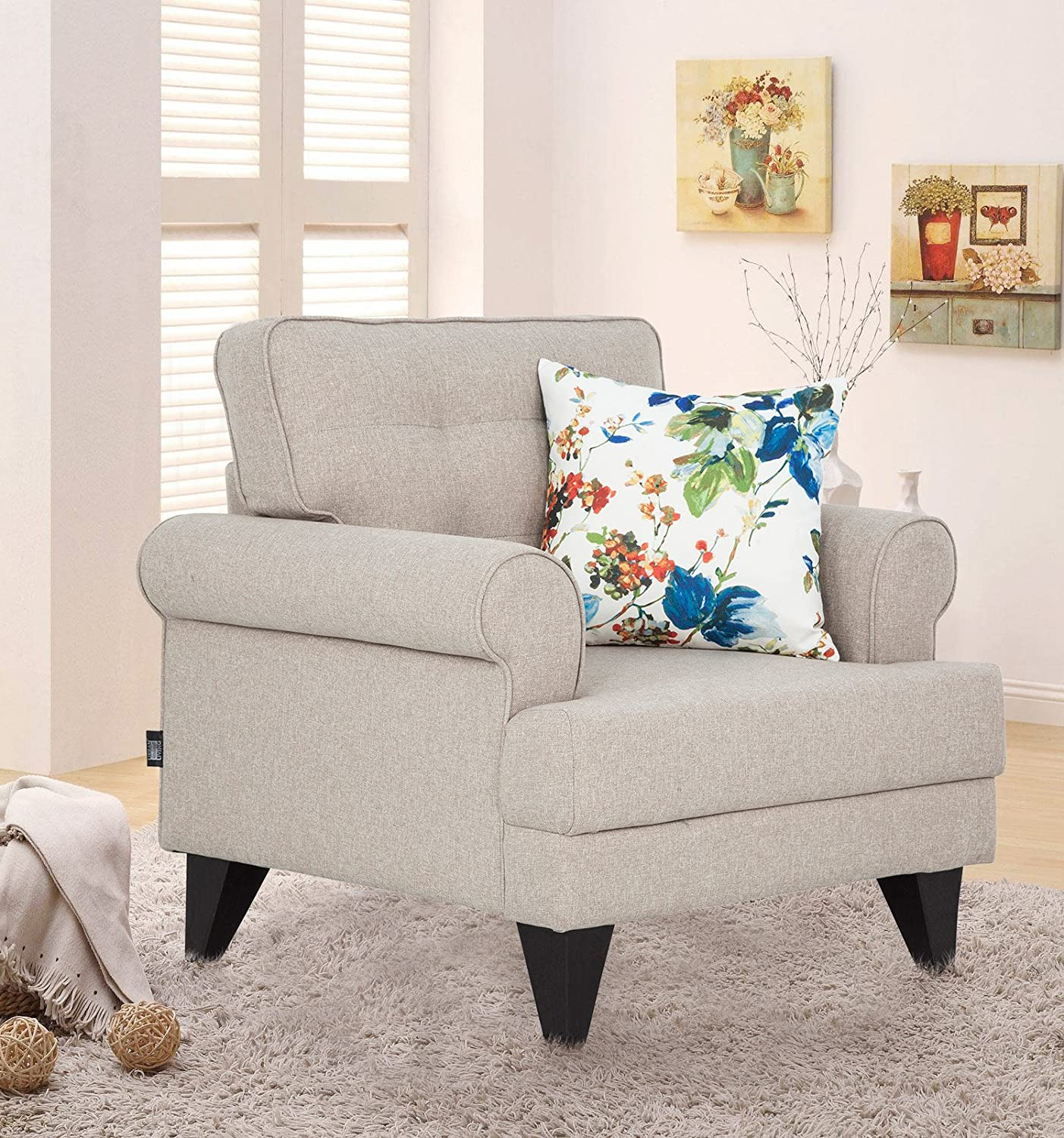 Hometown Miller Fabric Single Seater Sofa Beige