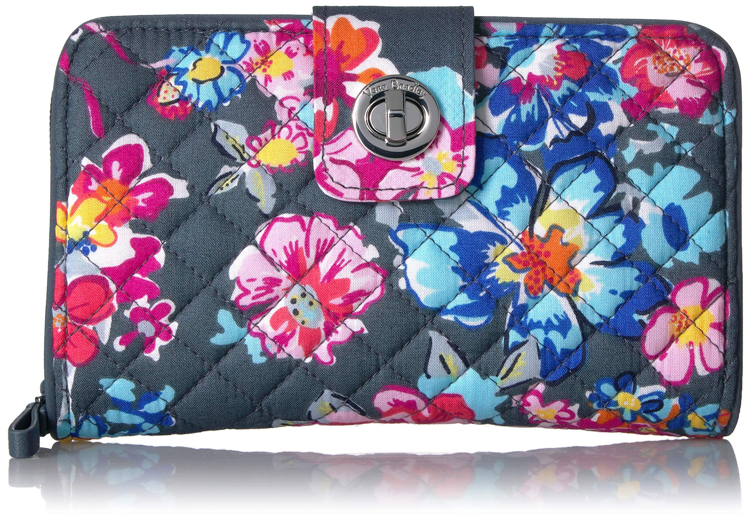 Vera Bradley Iconic RFID Turnlock Wallet, Signature Cotton, pretty Posies
