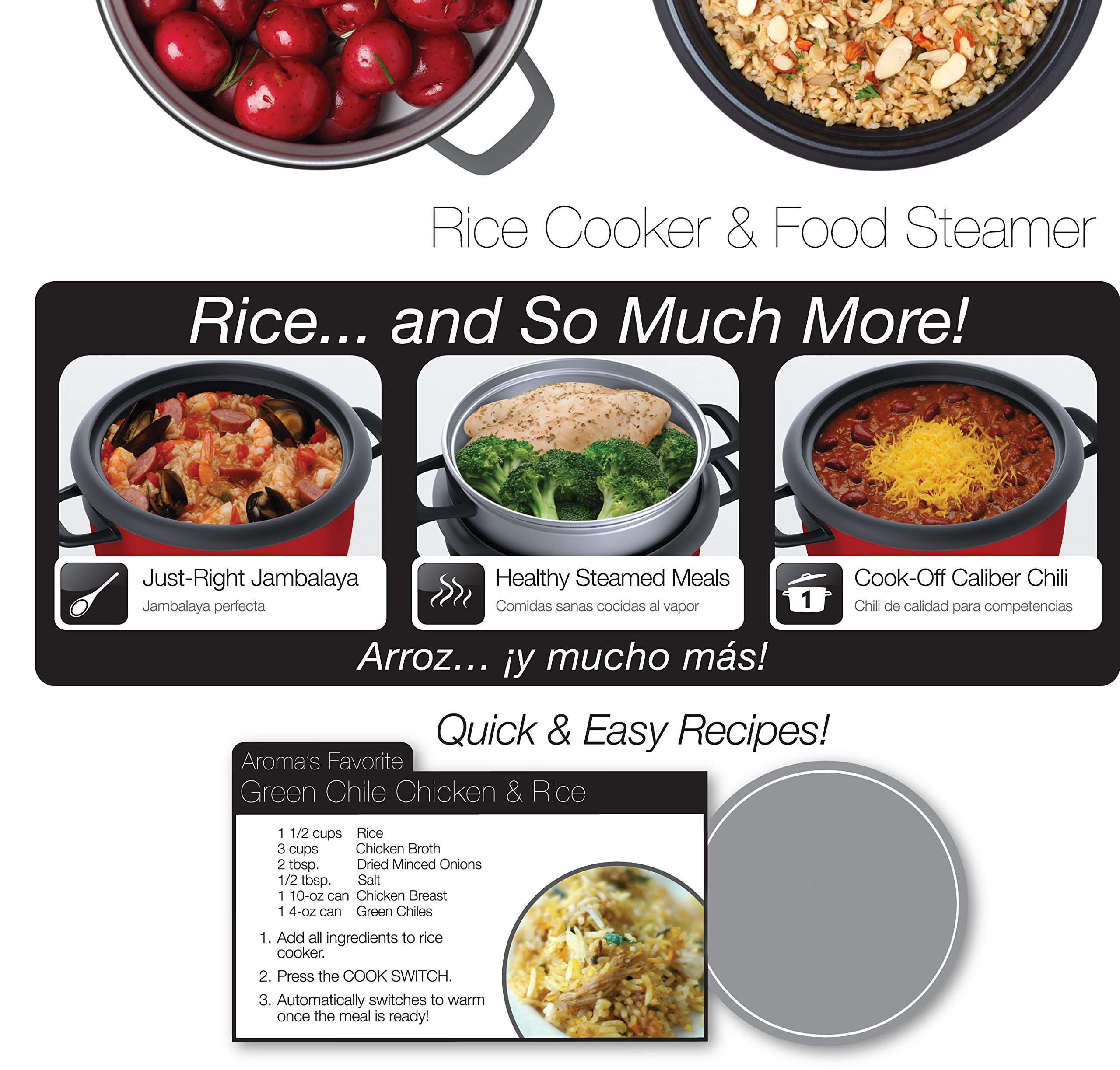 Aroma Housewares 6-Cup (Cooked) (3-Cup UNCOOKED) Pot Style Rice Cooker and Food Steamer by Aroma Housewares (Image #9)
