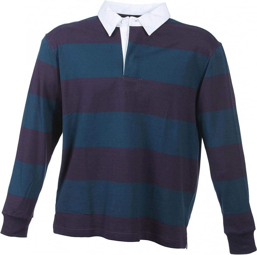 Camiseta polo de manga larga de B4088, de tela gruesa, en estilo de rugby aubergine/petrol XXL: Amazon.es: Ropa y accesorios