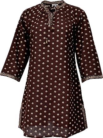 Guru-Shop - Túnica boho india blusentunika, minivestido, mujer, algodón, blusa y túnica marrón XL: Amazon.es: Ropa y accesorios