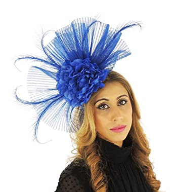 Image Unavailable. Image not available for. Color  Hats By Cressida 12 Inch  Royal Blue Ascot Fascinator Hat Headband 5c2bfd75a9af