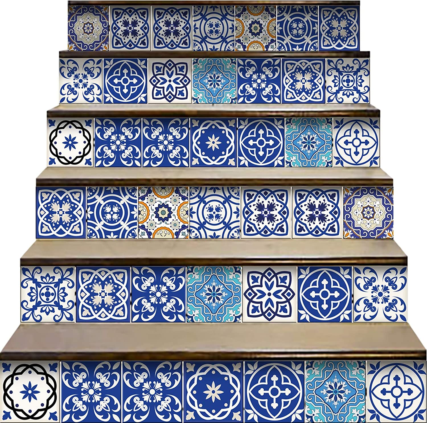 Mi Alma Peel and Stick Tile Backsplash Stair Riser Decals DIY Tile Decals Mexican Talavera Home Decor Staircase Decal Tile Stickers Decals 7''W x 7''L (Set of 24) (Greek Tile Design)