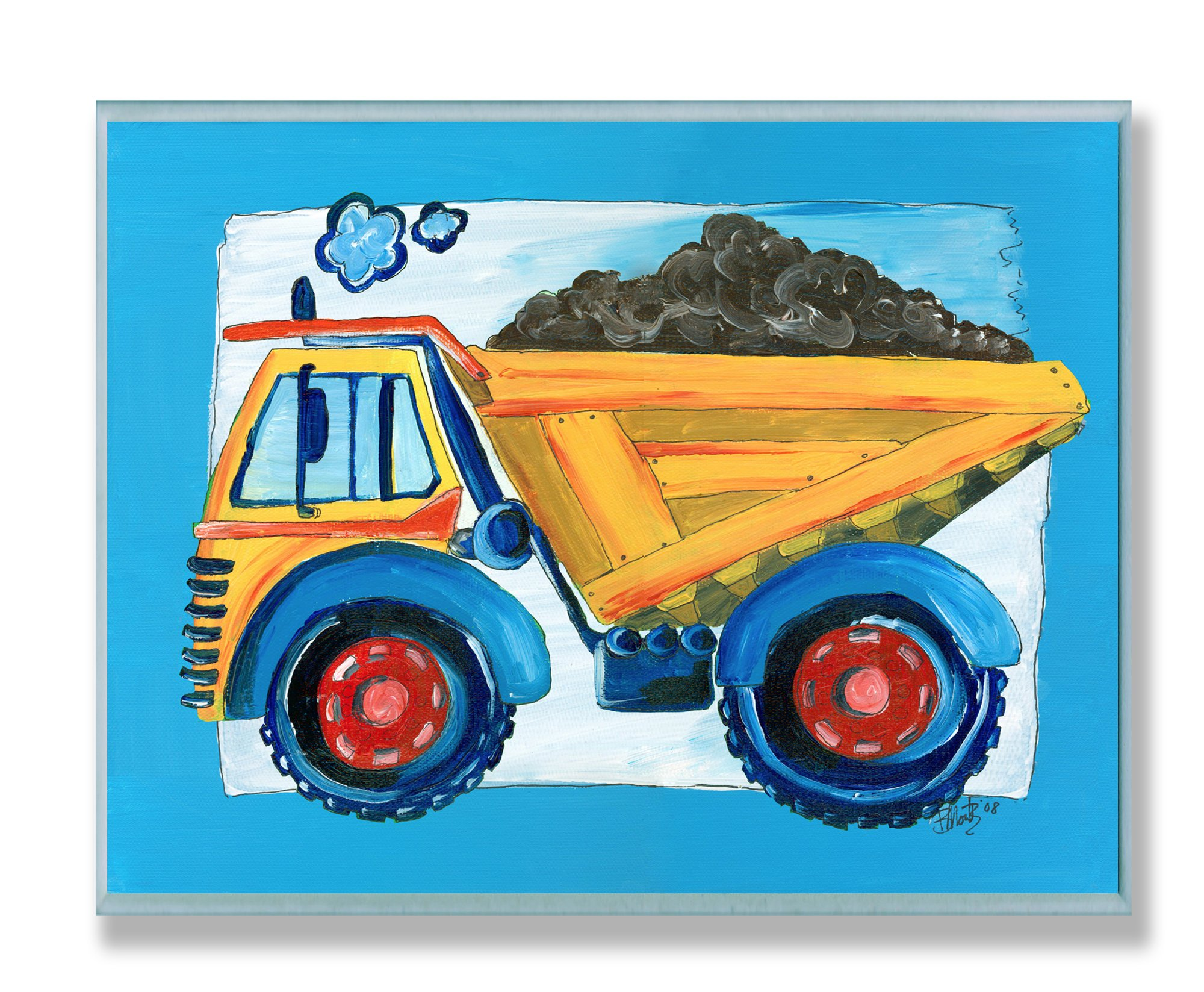The Kids Room by Stupell Yellow Dump Truck with Blue Border Rectangle Wall Plaque by The Kids Room by Stupell