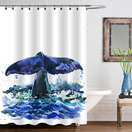MitoVilla Watercolor Art Decor Shower Decorations Navy Blue Whale Tail On A  Wave Background Shower Curtain