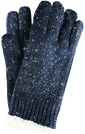 be2f3273c25bc9 Mevina Damen Handschuhe warm mit Teddyfell gefüttert Zopf Strick Muster  Gloves Winter Dunkelblau H1005