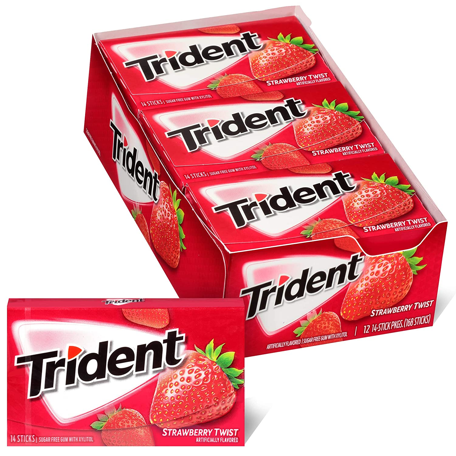 Trident Strawberry Twist Sugar Free Gum, 12 Packs of 14 Pieces (168 Total Pieces)
