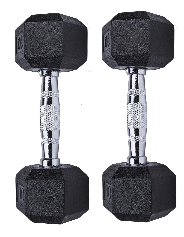 ziyud Juego de 2 mancuernas de mancuerna hexagonal de goma con asas de metal, par de 2 Heavy elegir Peso (kg), 4,5 kg, 6,8, 20 lb, 25lb, 30lb, 15,9 kg, ...