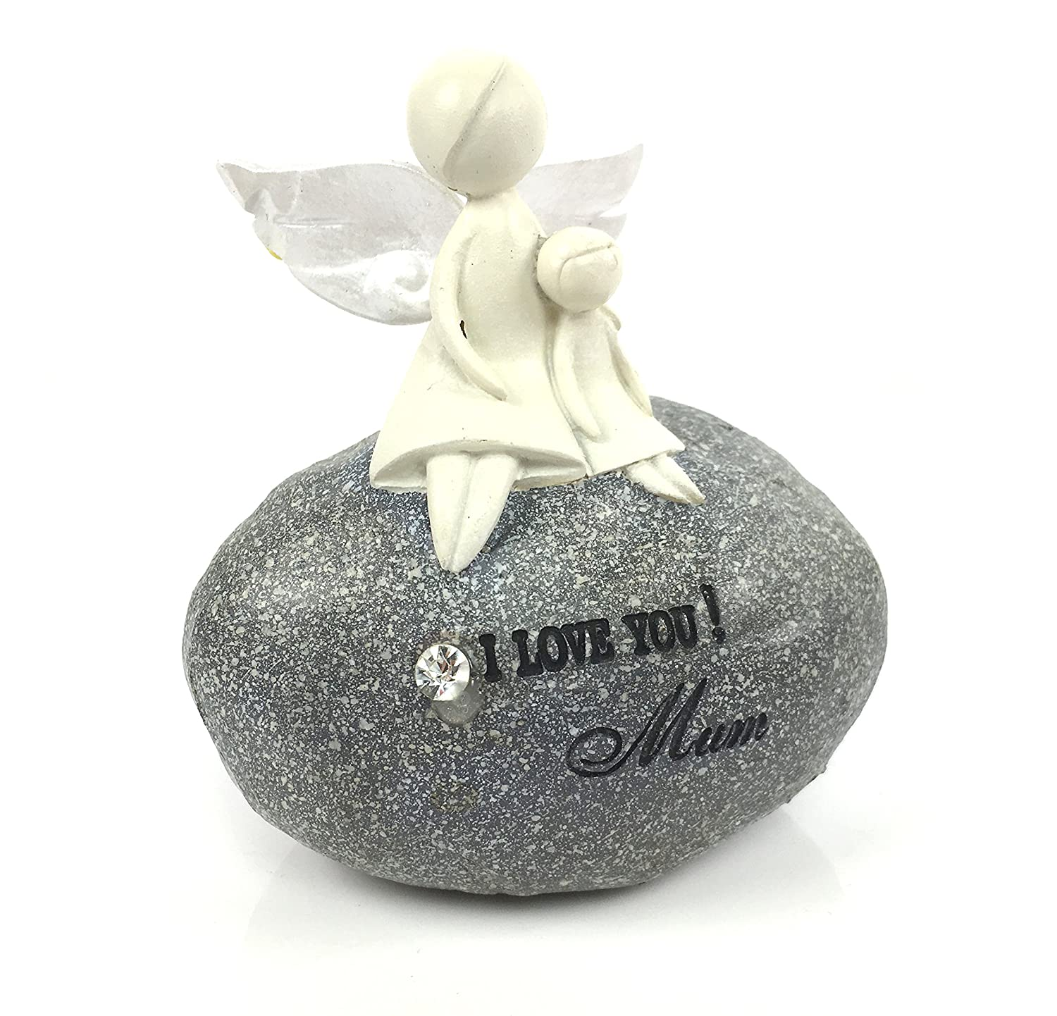Beautiful Crafted Love You Mum Angel On Sentimental Pebble ukgiftstoreonline