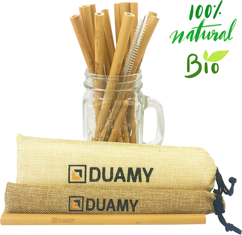 DUAMY Pajitas de bambú Reutilizables. El Pack Tiene 12 pajitas de ...
