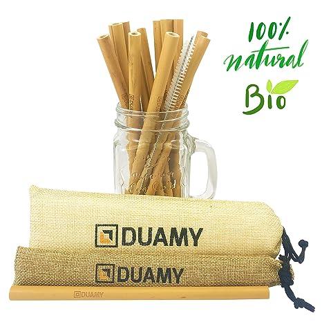 DUAMY Pajitas de bambú Reutilizables. El Pack Tiene 12 pajitas de bambú ecológicas, un Cepillo de Limpieza y Dos Bolsas de Tela de Yute Natural. ...
