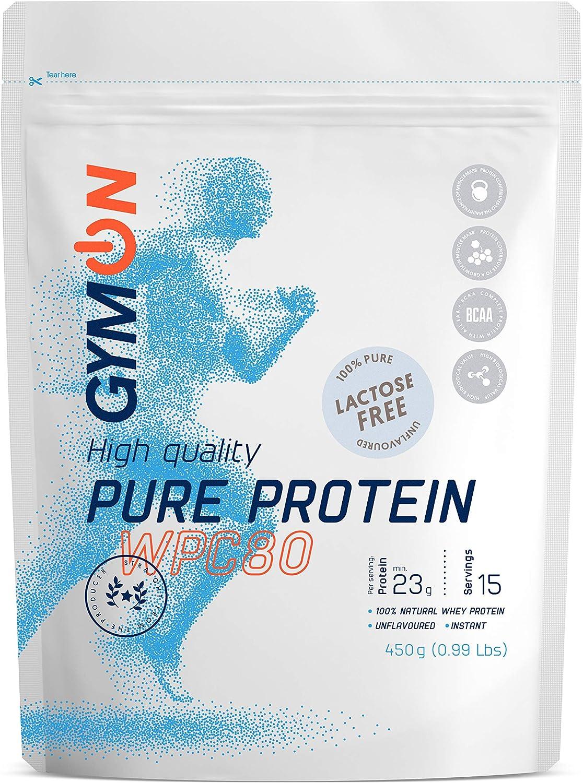 GYMON Whey Protein. Concentrado de proteína de suero de leche, 450g (Sin Sabor)