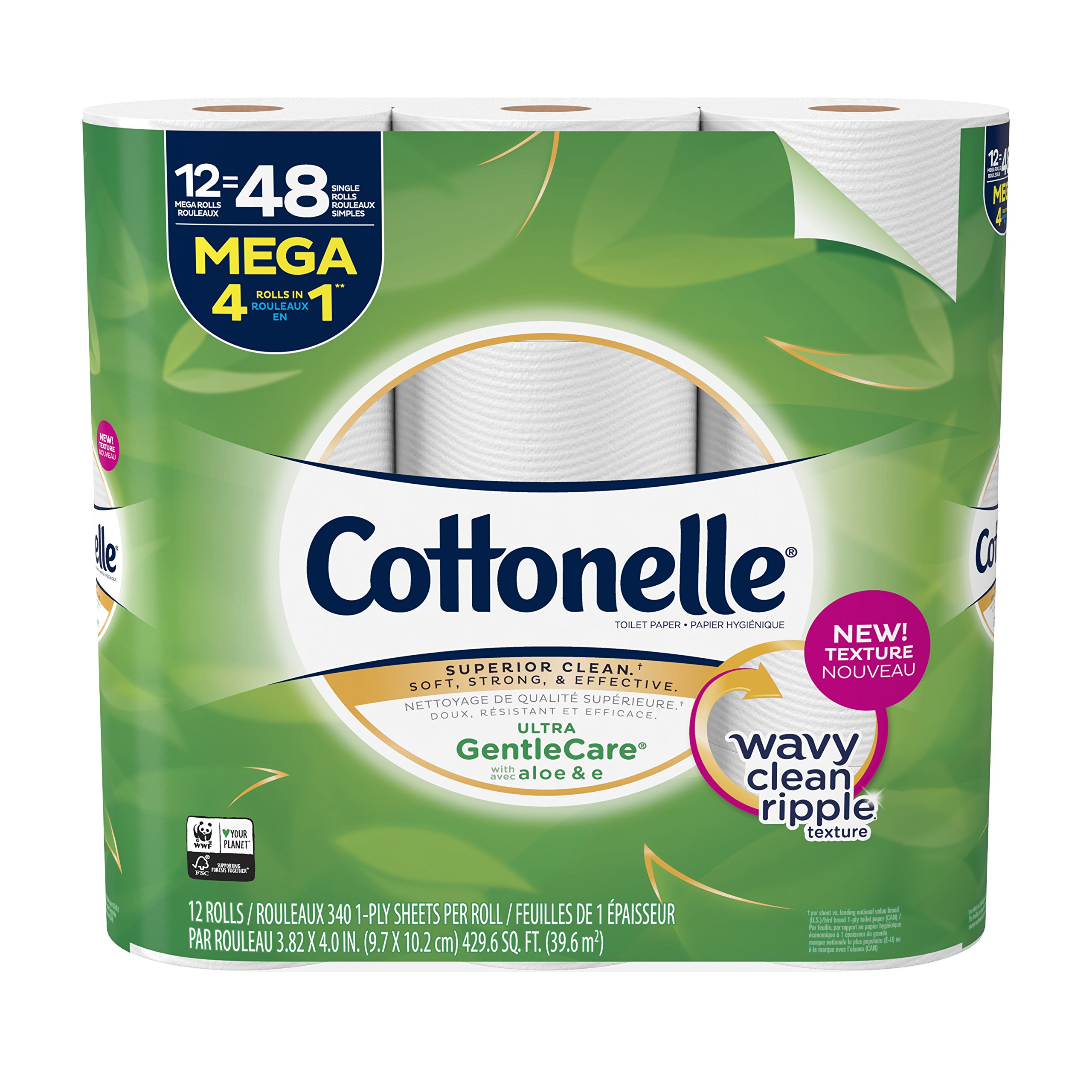 Cottonelle Ultra GentleCare Toilet Paper, 12 Mega Rolls, Sensitive Bath Tissue with Aloe & Vitamin E