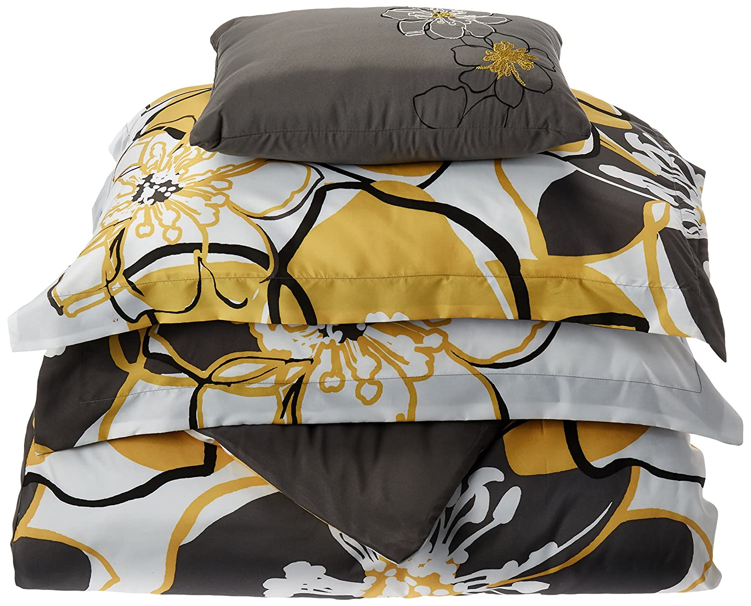 Mizone Allison 4 Piece Duvet Cover Set, Yellow, Full/Queen
