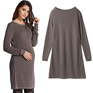699d5c34f338c Sweet Mommy Maternity and Nursing Color Block Organic Cotton Knit Dress (M,  Moku Cocoa