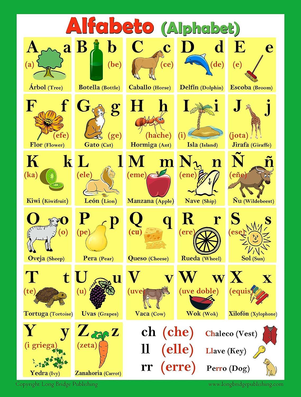 Amazon.com : Spanish Language School Poster - Alphabet - Wall Chart ...