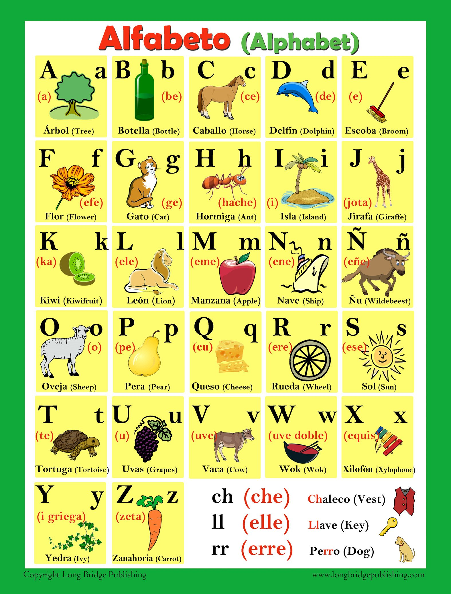 Spanish Language School Poster - Alphabet - Wall Chart for Home and Classroom - Spanish-english Bilingual Text (18x24 inches) by Long Bridge Publishing