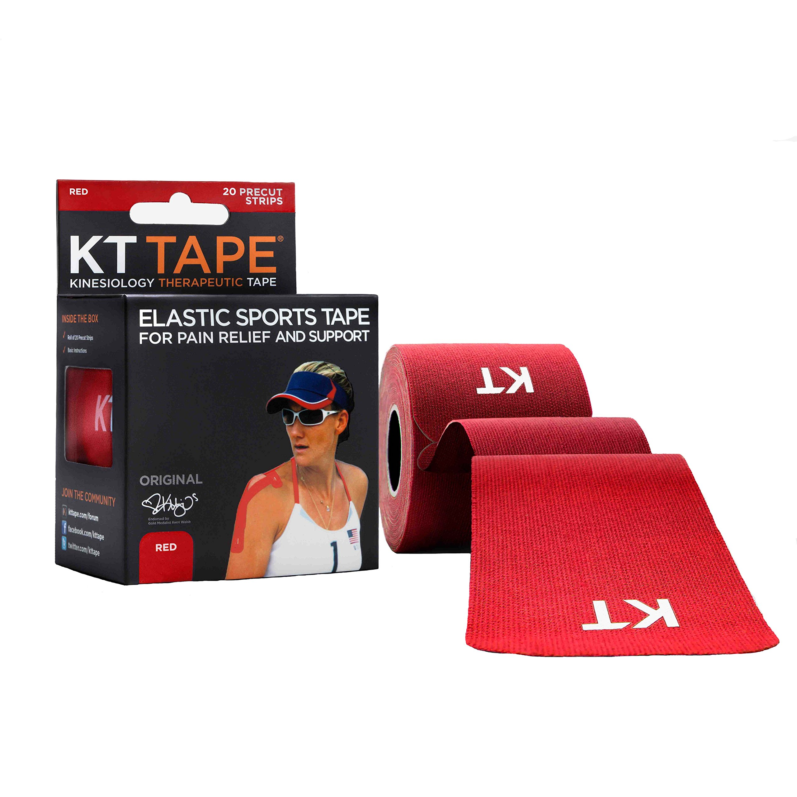 KT Tape Original Cotton Elastic Kinesiology Therapeutic Sports Tape, 20 Pre cut 10 inch Strips, Red