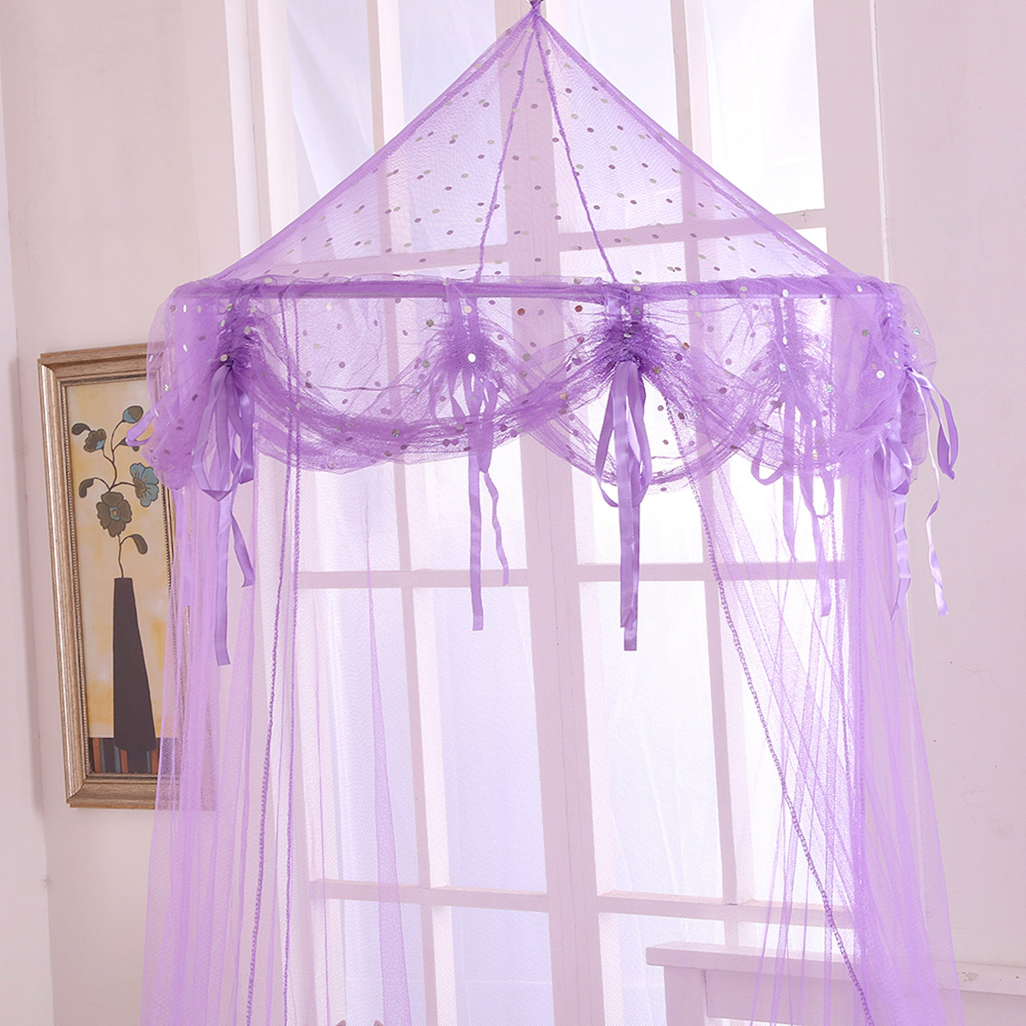 Fantasy Kids Buttons and Bows Kids Collapsible Hoop Sheer Bed Canopy, One Size, Purple