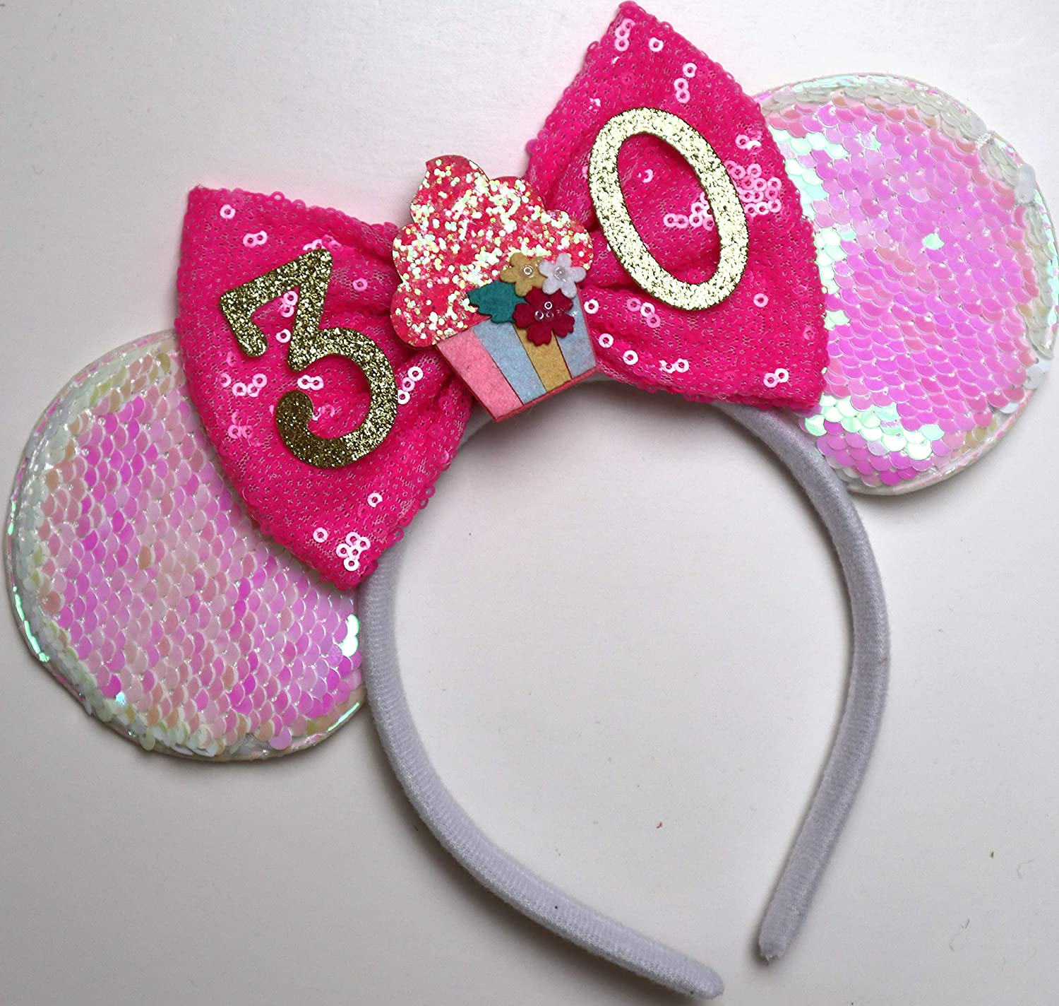 Flip Sequins Mickey Minnie Mouse Ears Reversible Sparkle Headbands Black Silver