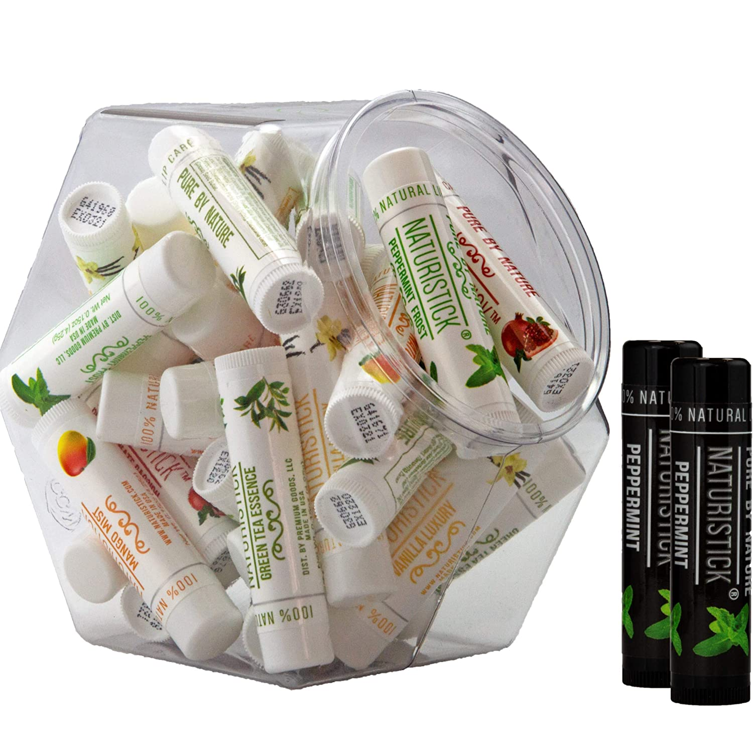 32-Pack Lip Balm in Bulk by Naturistick. Assorted Flavors. 100% Natural Ingredients. Includes Mini Display Fishbowl. Best Beeswax Chapstick for Dry, Chapped Lips. Made in USA