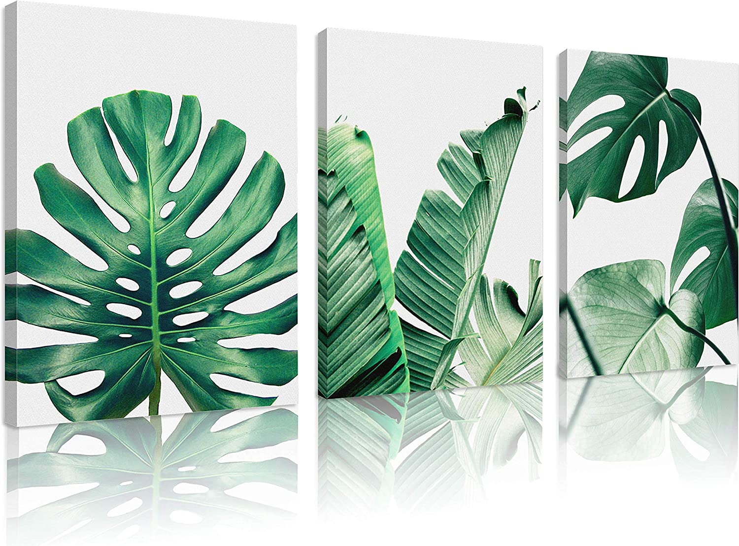 Natural art Simple Green Leaves Canvas Art Tropical Plants Artwork  Minimalist Watercolor Painting Wall Decor for Bathroom Living Room Bedroom  Kitchen ...