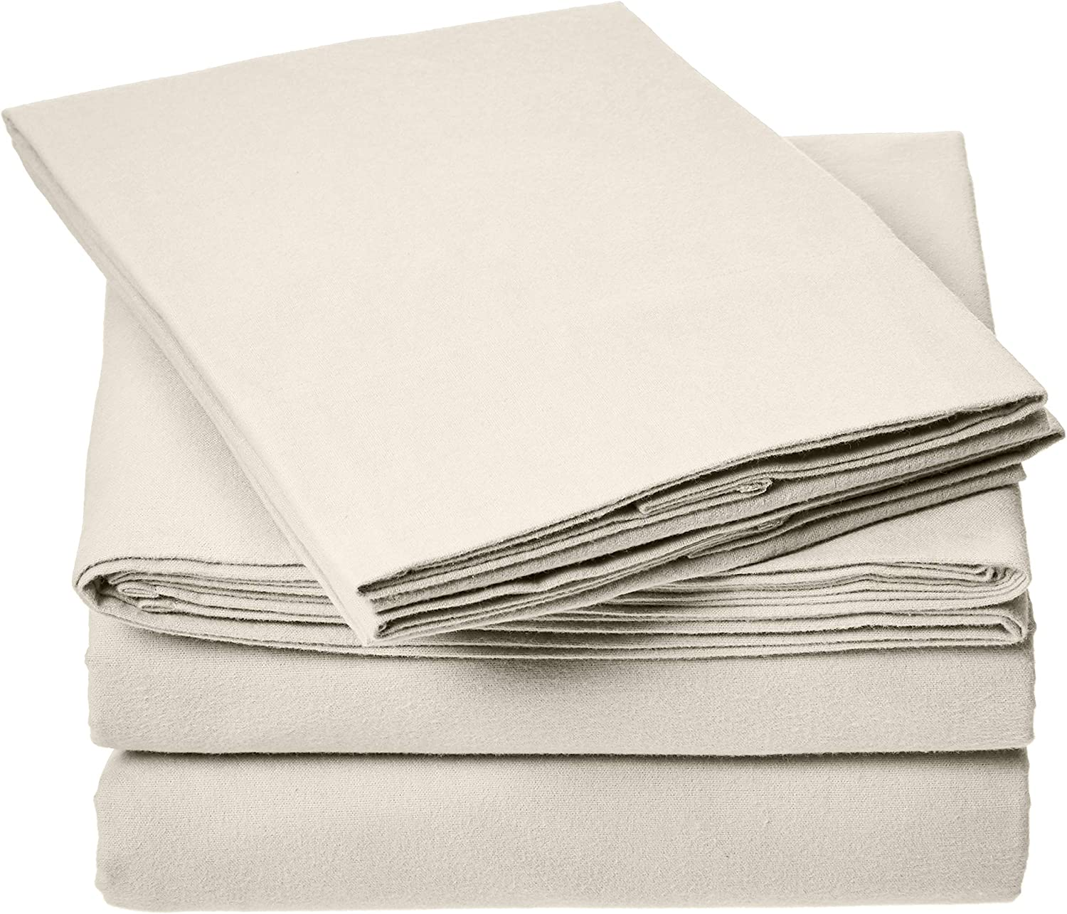 AmazonBasics Everyday Flannel Bed Sheet Set - King, Beige