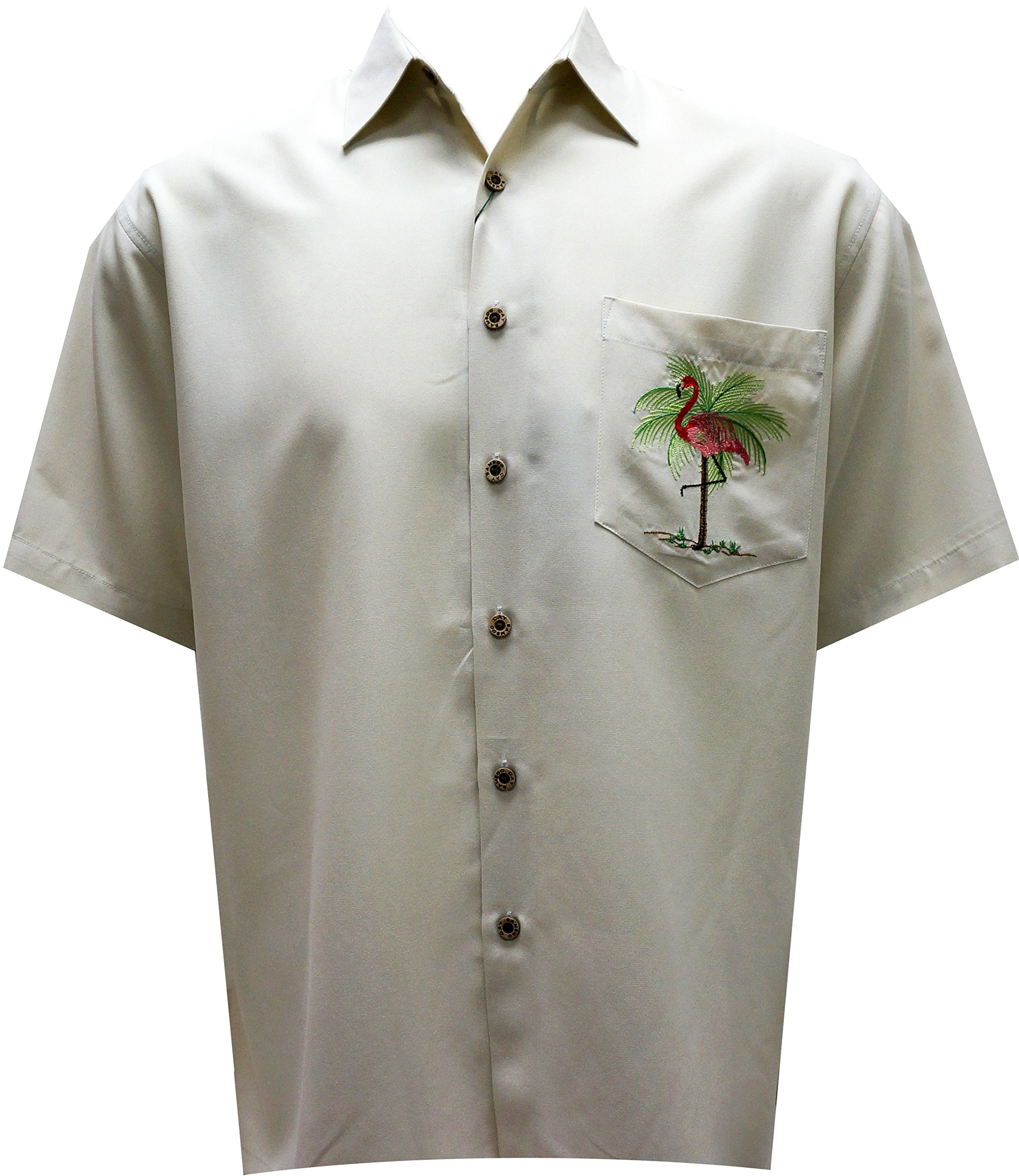 Bamboo Cay - Men's Pink Palmingo, Embroidered Tropical Style Shirt (X-Large, Cream) by Bamboo Cay (Image #1)