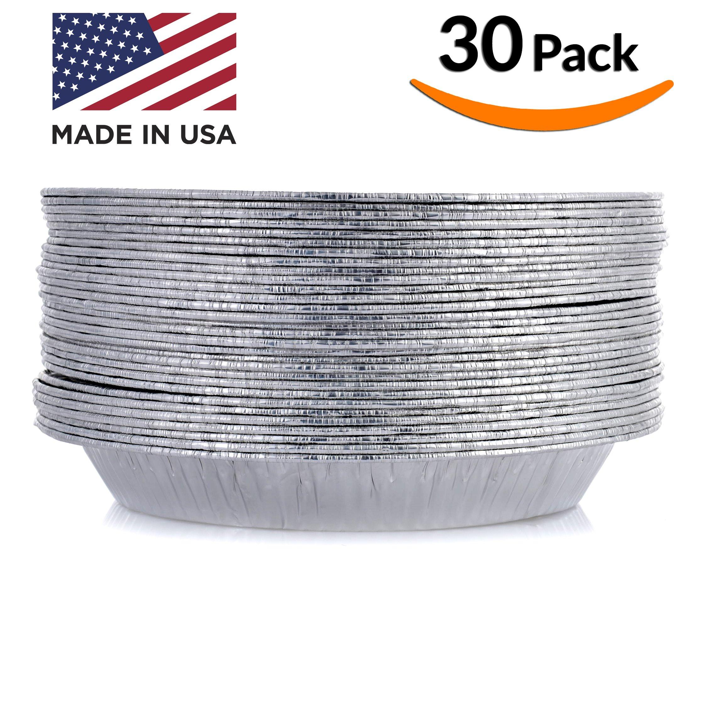 DOBI 9'' Pie Pans (30 Pack) - Disposable Aluminum Foil Pie Plates, Standard Size, 9'' x 1.25''