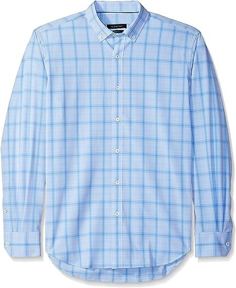 Bugatchi Mens Cotton Slim Fit Regular Placket Shirt