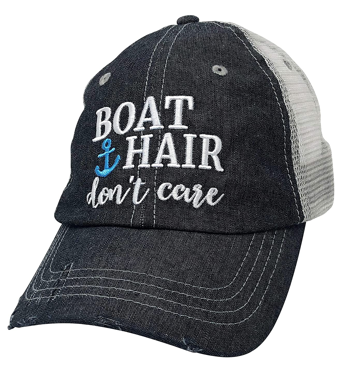 Xoxo, Coco Boat Hair Don't Care Baseball Hat Mesh Trucker Style Hat Cap Dark Grey