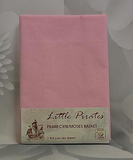2 sábanas lisas para cochecito de bebé, cuna o moisés, de 100 % algodón, color rosa