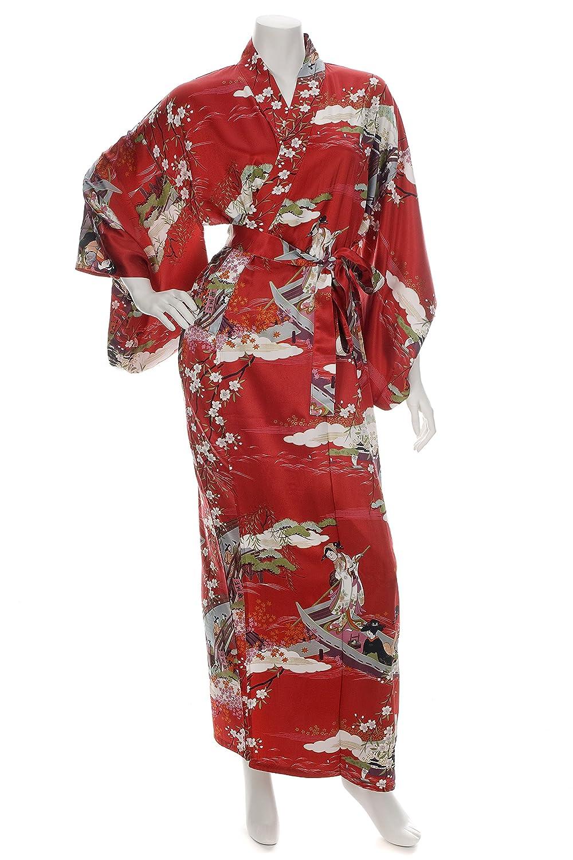 Japanischer rote Seiden Kimono Ukiyoe lange Robe XL