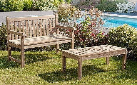 MACABANE 501009 Table Basse Couleur Brut en Teck Dimension 100cm X 50cm X  40cm