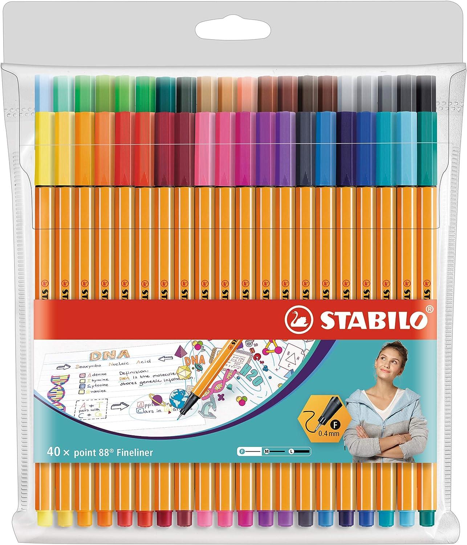 Rotulador punta fina STABILO point 88 - Estuche con 40 colores: Amazon.es: Oficina y papelería