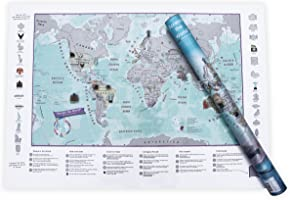 Scratch The World® Children's Activity Adventure World map - Scratch Off The map and Explore The World - Gift Tube