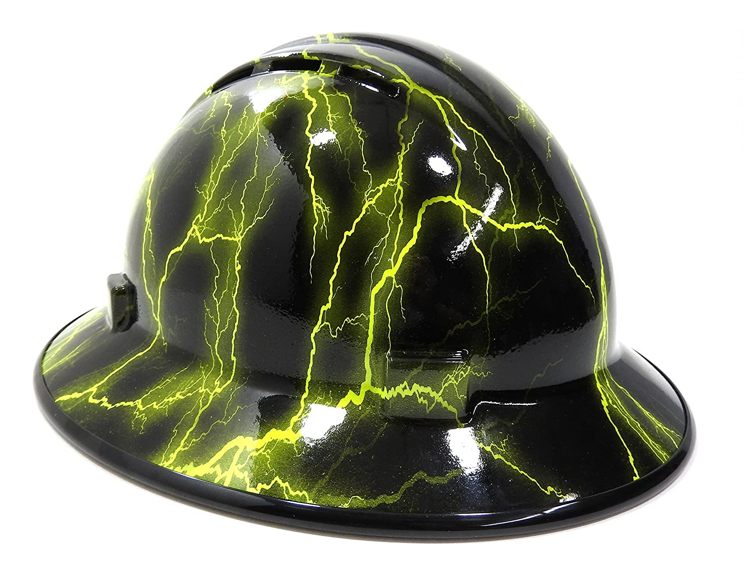 264d0e5d100 HardHatGear Custom Hydro Dipped VENTED Full Brim Hard Hat in  Hi Viz  Lightning  - Made in USA - - Amazon.com