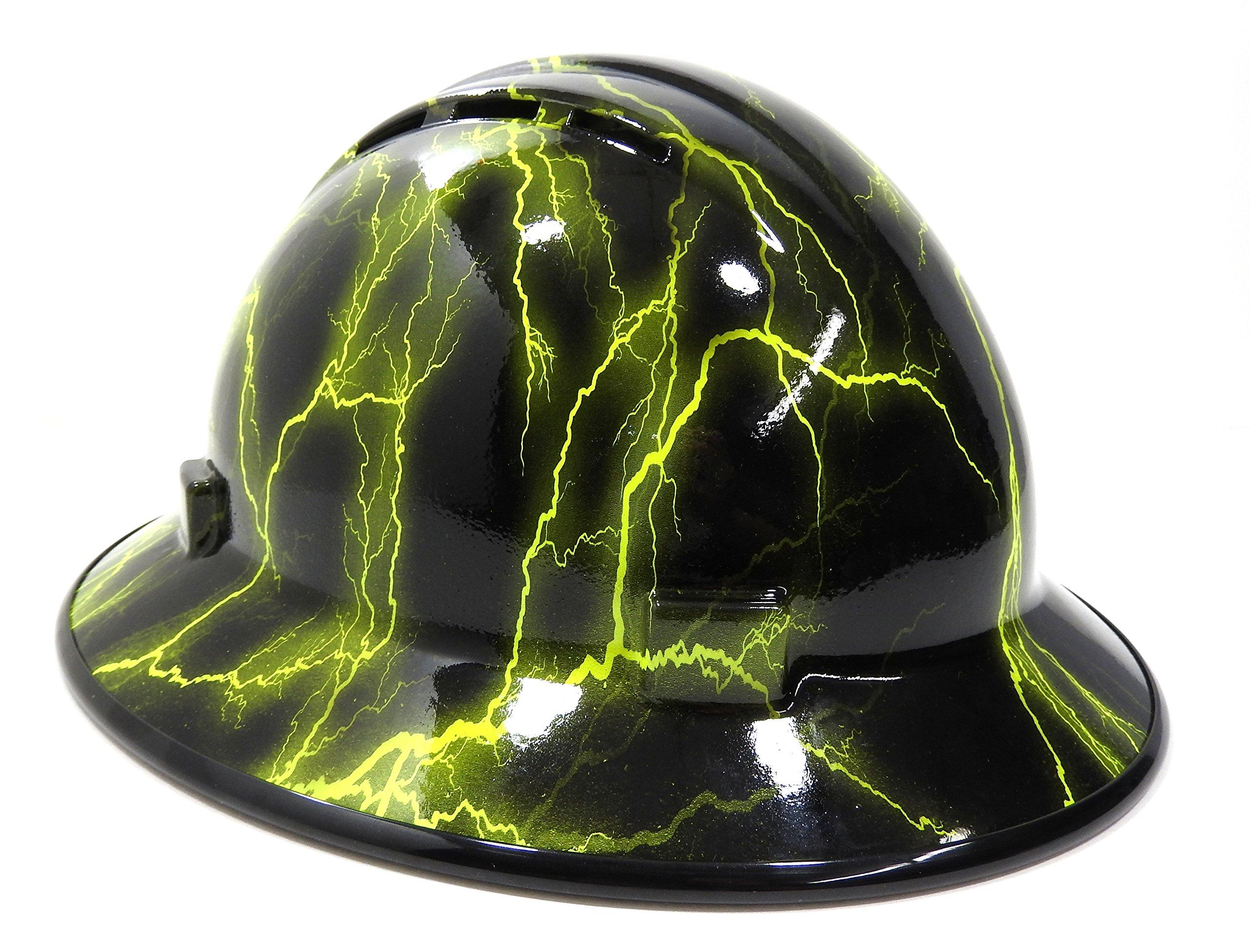 HardHatGear Custom Hydro Dipped VENTED Full Brim Hard Hat in 'Hi Viz Lightning' - Made in USA by Hardhatgear (Image #1)