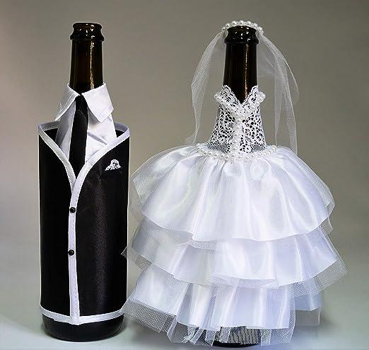 Amazon.com | Bride and Groom Wine Bottle Covers- Wine bottle dress ...