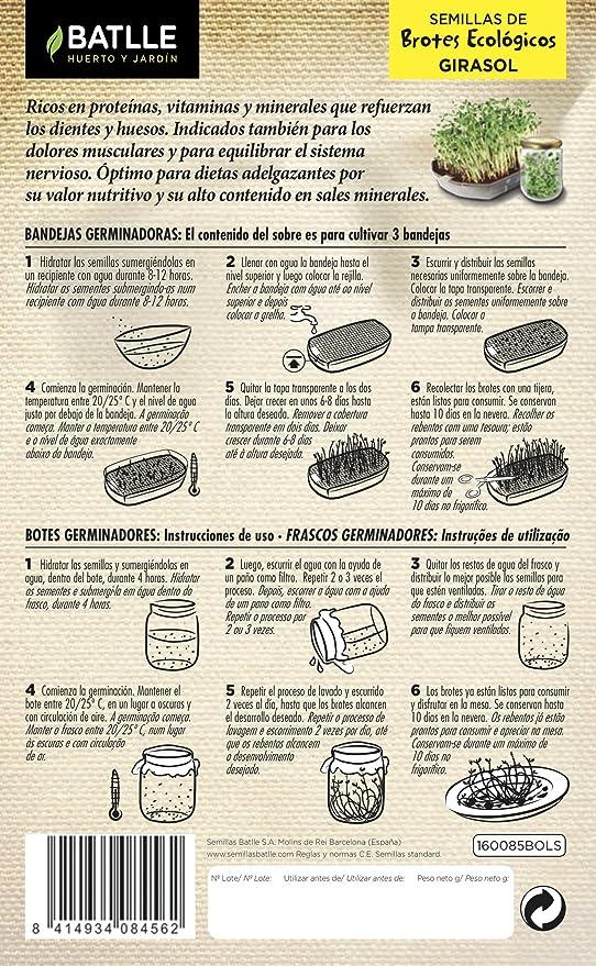 Semillas Ecológicas Brotes - Brotes ecológicos de Lentejas - Batlle: Amazon.es: Jardín