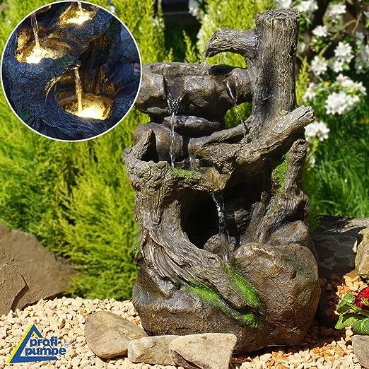 Fuente de jardín con iluminación LED, 230/12 V, para jardín, jardín, jardín, terraza, estanque, balcón: Amazon.es: Hogar
