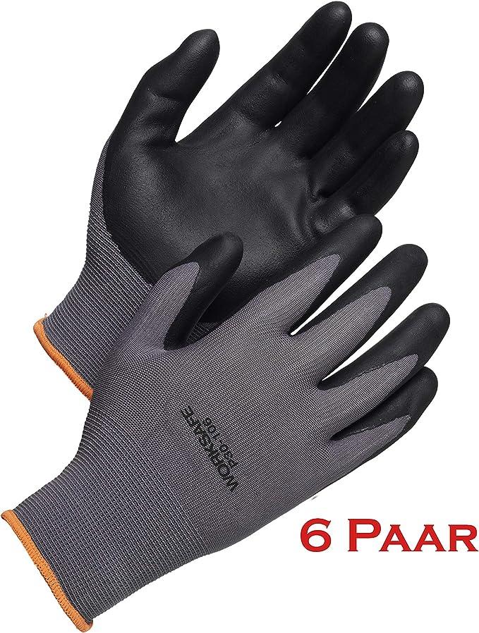 talla 8 = M WORKSAFE 2052098 6 pares guantes de trabajo Nitril P30-106-Antideslizantes transpirables